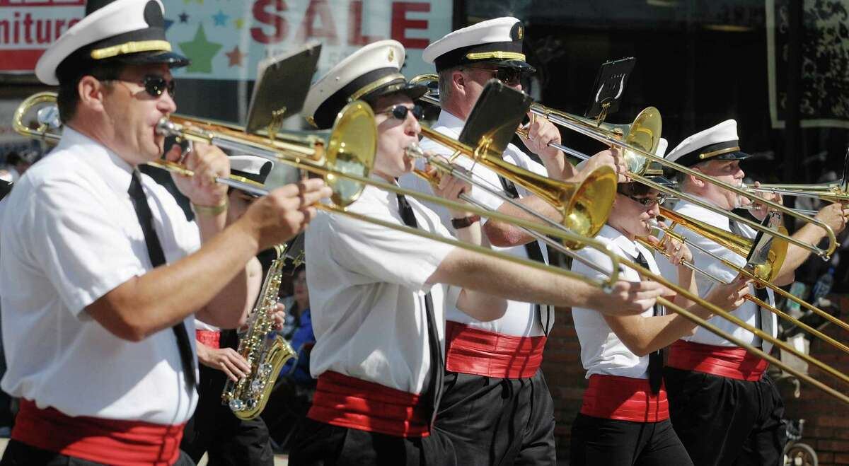 Members of The Fiesta Band out of Mechanicville perform as they march down Fifth Avenue during the Uncle Sam Parade on Sunday, Sept. 16, 2012 in Troy, NY. (Paul Buckowski / Times Union)