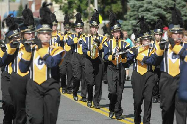 Members of the Cohoes Tigers Marching Band perfrom as they march down Fifth Avenue during the  Uncle Sam Parade on Sunday, Sept. 16, 2012 in Troy, NY.  (Paul Buckowski / Times Union) Photo: Paul Buckowski