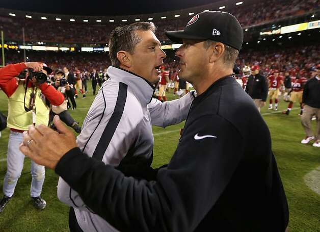 Head coach Jim Harbaugh of the San Francisco 49ers shakes hands with head coach Jim Schwartz of Detroit Lions after the 49ers beat the Lions at Candlestick Park on September 16, 2012 in San Francisco, California.  (Photo by Ezra Shaw/Getty Images) Photo: Ezra Shaw, Getty Images