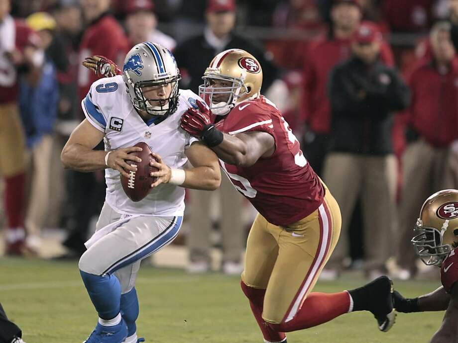 Linebacker Ahmad Brooks chases Lions quarterback Matthew Stafford in a 27-19 win for the 49ers in Week 2. Photo: John Storey, Special To The Chronicle
