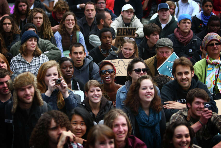 Protesters gather at Westlake Park as students from area high schools and colleges walked out of class to join protesters at the Occupy Seattle protest at Westlake Park on Wednesday, October 11, 2011. Photo: JOSHUA TRUJILLO / SEATTLEPI.COM
