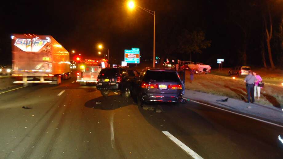 Ten people were transported to Norwalk Hospital to be treated for non-life-threatening injuries after back-to-back multi-vehicle accidents the evening of Sunday, Sept. 16, 2012 on Interstate 95 southbound in Norwalk, Conn., fire officials said. Photo: Norwalk Fire Department