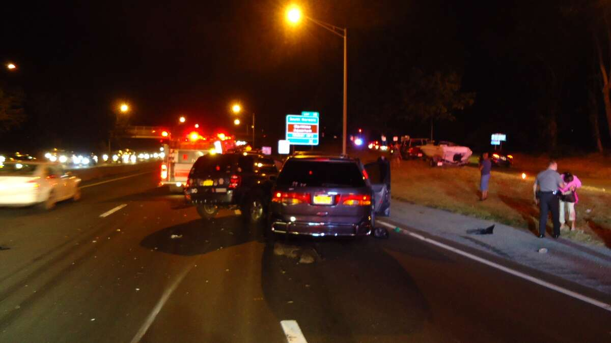 Ten people were transported to Norwalk Hospital to be treated for non-life-threatening injuries after back-to-back multi-vehicle accidents the evening of Sunday, Sept. 16, 2012 on Interstate 95 southbound in Norwalk, Conn., fire officials said.