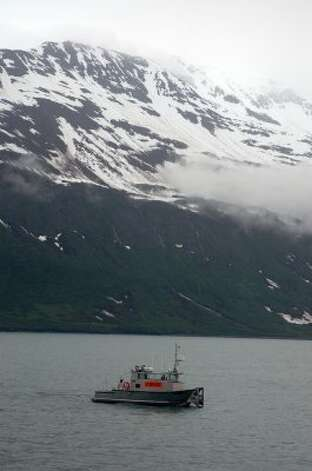 Shown is an oil spill response vessel in the Valdez port during a Shell drill. (Jennifer A. Dlouhy / The Houston Chronicle)