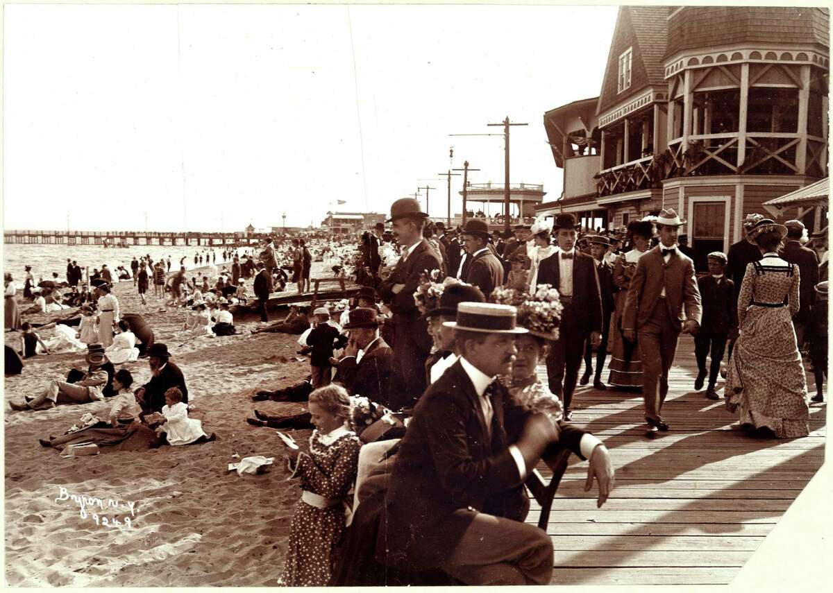 This 1899 vintage photo provided by the Museum of the City of New York shows bathers at Midland Beach in the Staten Island borough of New York. Beyond the ferry, the Verrazano-Narrows Bridge and maybe the Fresh Kills landfill, few people outside Staten Island know of its rich history as a strategic site in New York Harbor, a farming center, a recreational haven and a suburban retreat. A new exhibition aims to rectify that. Ã'Â