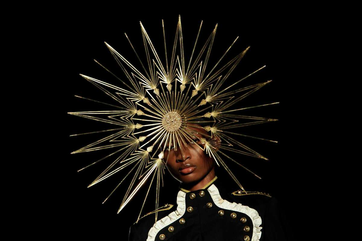 A model wears a design from the Philip Treacy Spring/Summer 2013 collection during London Fashion Week, Sunday, Sept. 16, 2012.