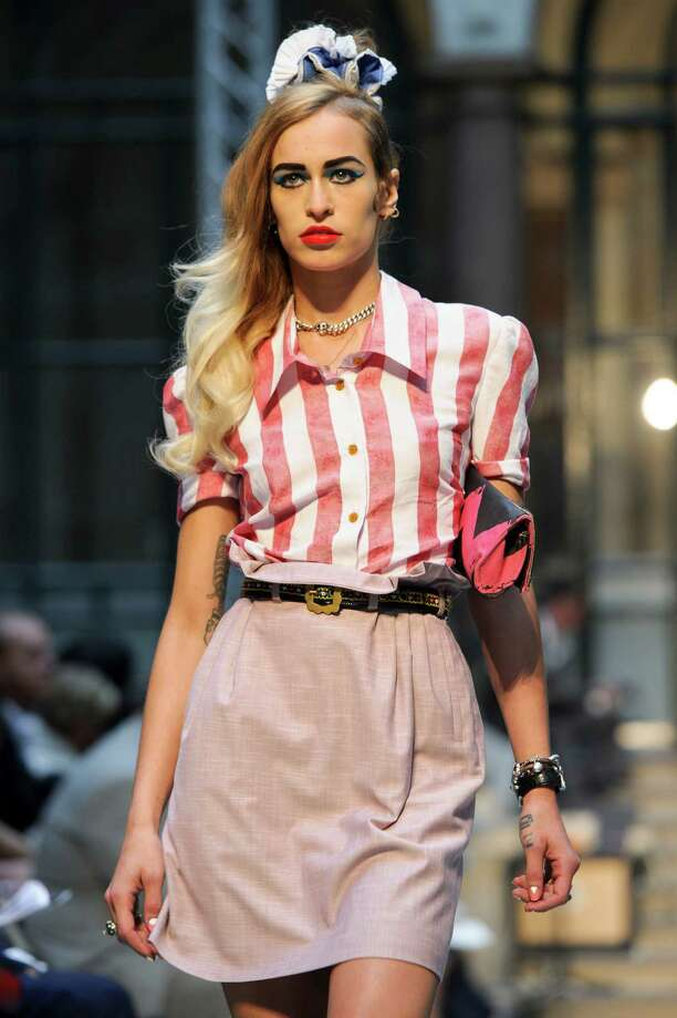 A model wears a design from the Vivienne Westwood Red Label Spring/Summer 2013 collection during London Fashion Week, Sunday, Sept. 16, 2012. Photo: Jonathan Short, AP / AP