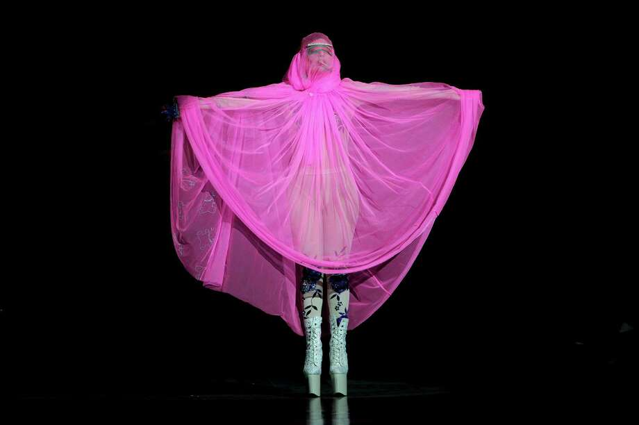 U.S singer Lady Gaga opens the Philip Treacy Spring/Summer 2013 collection during London Fashion Week, Sunday, Sept. 16, 2012. Photo: Jonathan Short, AP / AP
