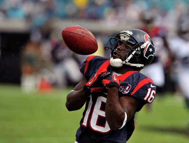 Houston Texans wide receiver Trindon Holliday (16) fumbles a punt return during the second half of an NFL football game against the Jacksonville Jaguars, Sunday, Sept. 16, 2012, in Jacksonville, Fla. The Texans beat the Jaguars 27-7. (AP Photo/Stephen Morton) Photo: STEPHEN MORTON, FRE / FR56856 AP