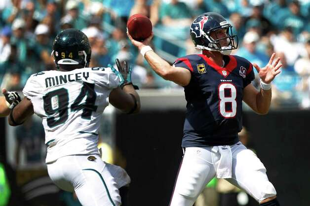 Houston Texans quarterback Matt Schaub (8) throws a pass as he is rushed by Jacksonville Jaguars defensive end Jeremy Mincey (94) during the third quarter at EverBank Field Sunday, Sept. 16, 2012, in Jacksonville, Fla. The Texans beat the Jaguars 27-7. ( Brett Coomer / Houston Chronicle ) Photo: Brett Coomer, Staff / © 2012  Houston Chronicle