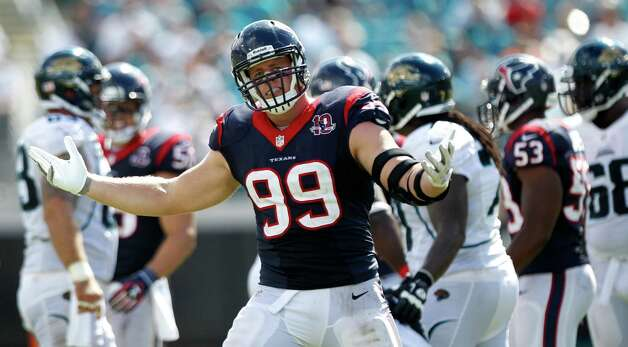Houston Texans defensive end J.J. Watt (99) celebrates his sack of Jacksonville Jaguars quarterback Blaine Gabbert during the fourth quarter at EverBank Field Sunday, Sept. 16, 2012, in Jacksonville. The Texans beat the Jaguars 27-7. ( Brett Coomer / Houston Chronicle ) Photo: Brett Coomer, Staff / © 2012  Houston Chronicle