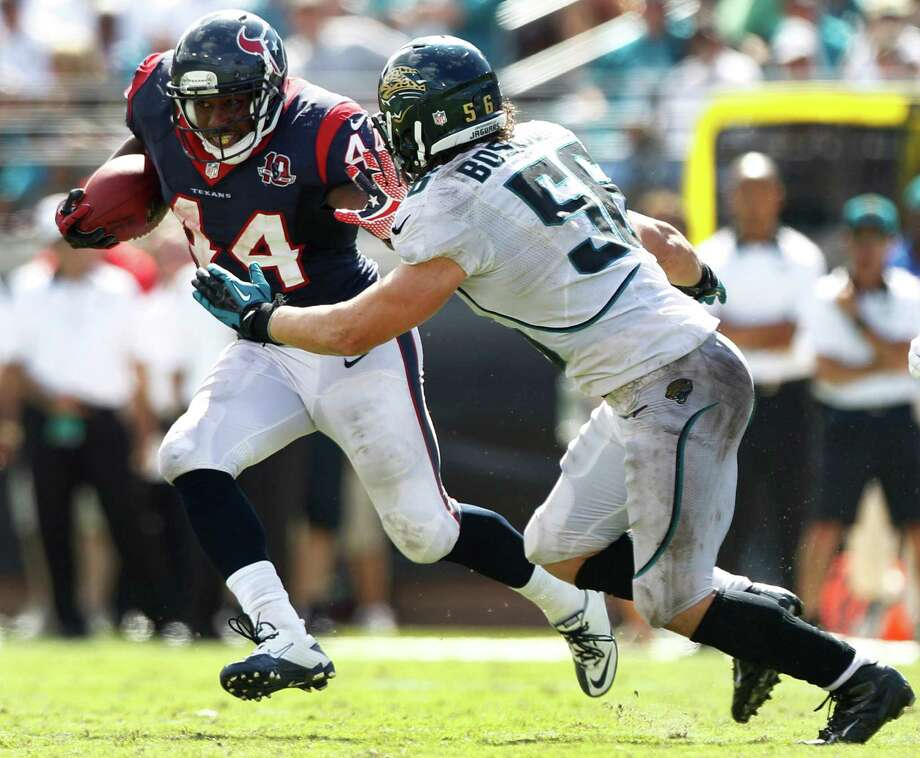Houston Texans running back Ben Tate (44) runs past Jacksonville Jaguars outside linebacker Kyle Bosworth (56) during the fourth quarter at EverBank Field Sunday, Sept. 16, 2012, in Jacksonville. The Texans beat the Jaguars 27-7. ( Brett Coomer / Houston Chronicle ) Photo: Brett Coomer, Staff / © 2012  Houston Chronicle