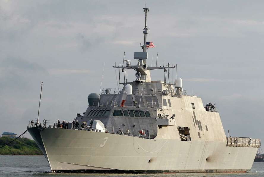 The USS Forth Worth arrives at the port of Galveston on Monday, Sept. 17, to prepare for its formal