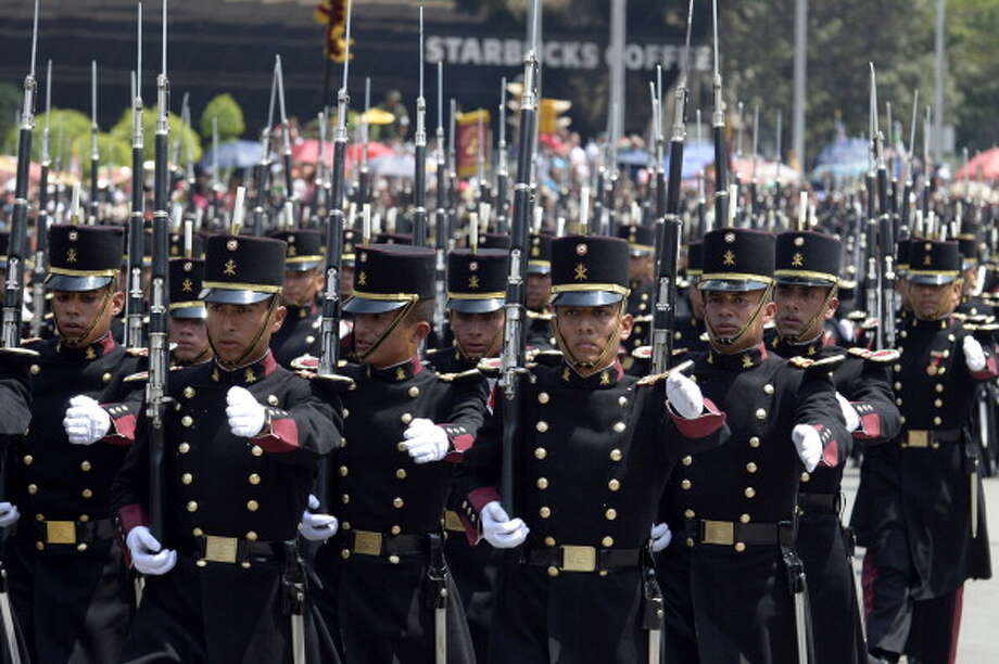 Mexican Army cadets march during the celebration of the 202nd anniversary of the country's independence at Juarez Avenue in Mexico City on September 16, 2012.   AFP PHOTO/Alfredo Estrella        (Photo credit should read ALFREDO ESTRELLA/AFP/GettyImages) Photo: Getty Images