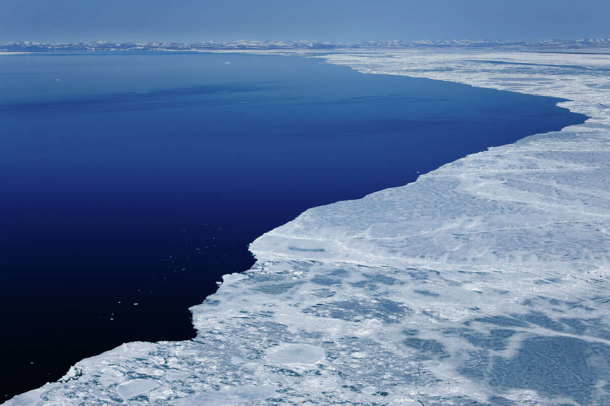 The shrinking Arctic ice pack, pictured north of Point Hope in the Chukchi Sea, Alaska.