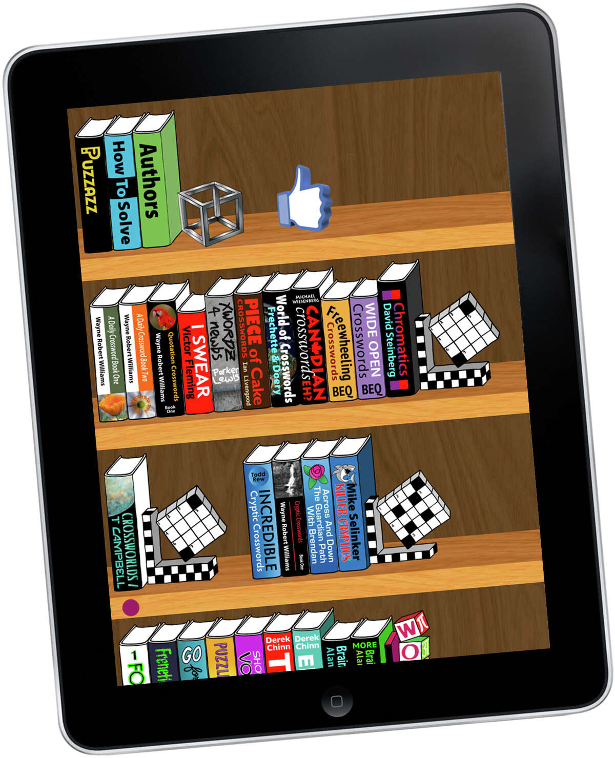 Puzzle books are shown on the Puzzazz iPad app.