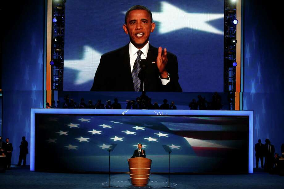 President Barack Obama speaks during the Democratic National Convention at the Time Warner Cable Arena in Charlotte, N.C., Sept. 6, 2012. Photo: LUKE SHARRETT, New York Times / NYTNS