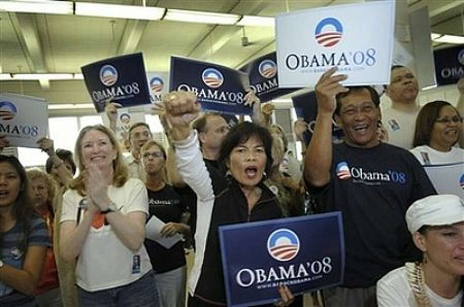 A cheering crowd  during a Barack Obama rally at Farrington High School  in Honolulu, Monday, Feb. 18, 2008. Photo: LUCY PEMONI, AP / AP