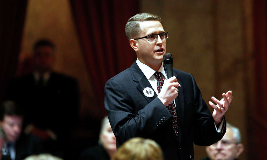 Rep. Matt Shea, R-Spokane Valley, has proposed splitting Washington into two states. He led Tuesday in his race. Photo: Elaine Thompson / Associated Press