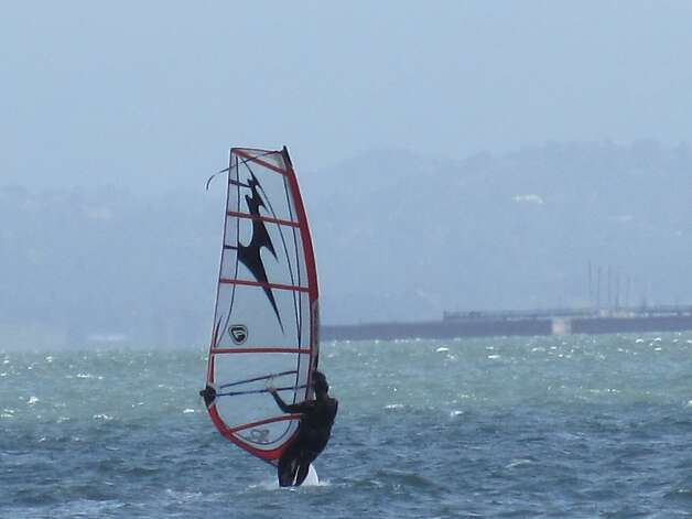 Heidi Kearsley windsurfing in one of her favorite places to sail on the Bay: off Candlestick Park in San Francisco. Photo: Courtesy Of ..., ... Heidi Kearsley