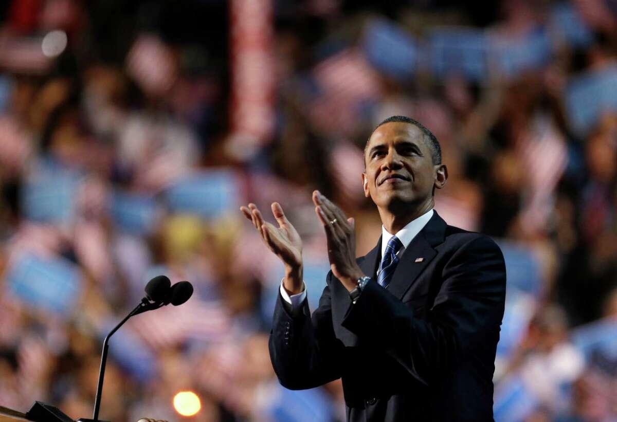 President Barack Obama addresses the Democratic National Convention in Charlotte, N.C., on Thursday, Sept. 6, 2012. (AP Photo/David Goldman) (David Goldman / Associated Press)