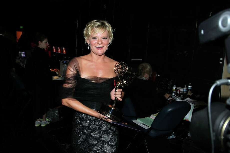 """Martha Plimpton poses backstage with her award for outstanding guest actress in a drama series for playing Patti Nyholm on """"The Good Wife"""" at the 2012 Creative Arts Emmys at the Nokia Theatre on Saturday, Sept. 15, 2012, in Los Angeles. (Photo by Matt Sayles/Invision/AP) Photo: Matt Sayles, INVL / Invision"""