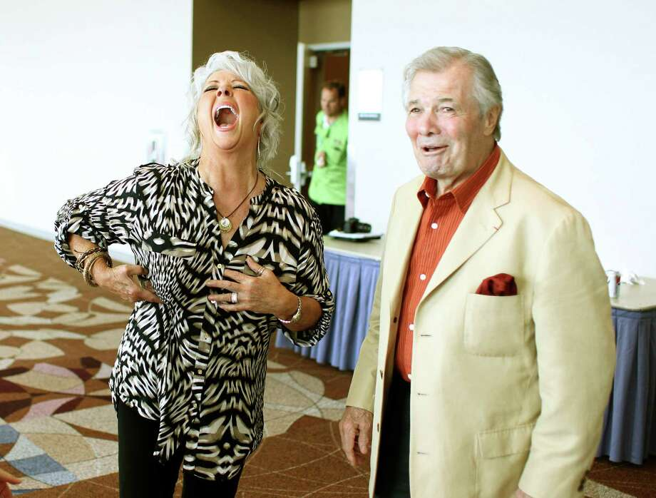 Jacques Pépin had Paula Deen in stitches when the two ran into each other at Reliant Center. The topics of conversation reportedly included weight loss and fried chicken. Photo: Nick De La Torre / © 2012 Houston Chronicle