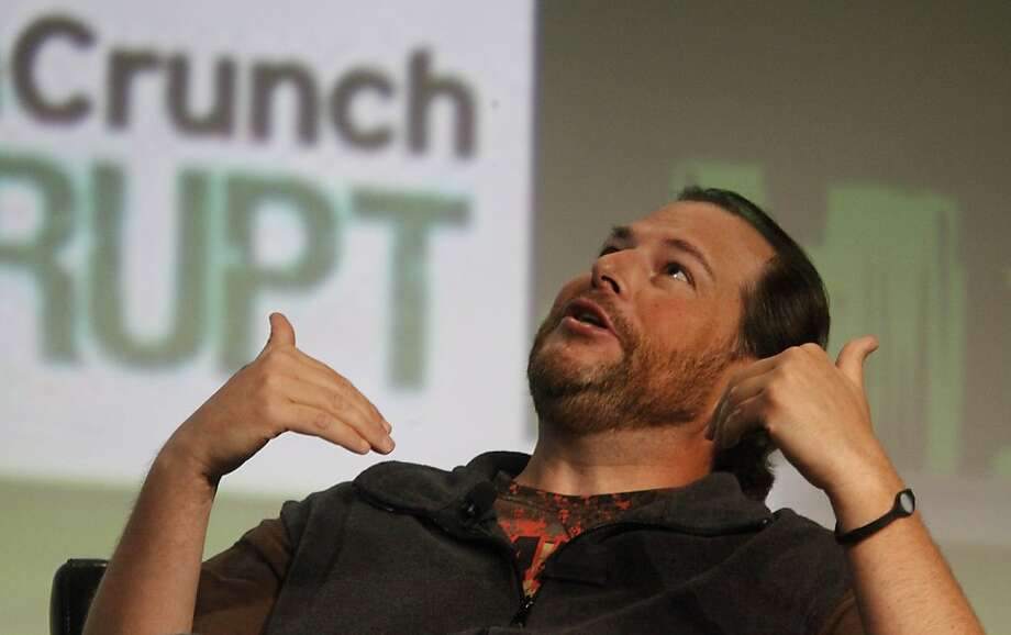 Marc Benioff, chairman and CEO of Salesforce.com speaks with Moderator Michael Arrington (not shown) of TechCrunch during a Fireside Chat at TechCrunch Disrupt SF 2012 at The Concourse at San Francisco Design Center on Tuesday, September 11, 2012 in San Francisco, Calif. Photo: Lea Suzuki, The Chronicle
