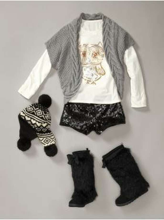 What should an 8-year-old wear to a holiday party? Sequined hot pants paired with snow boots was a suggestion from Gap in 2011.