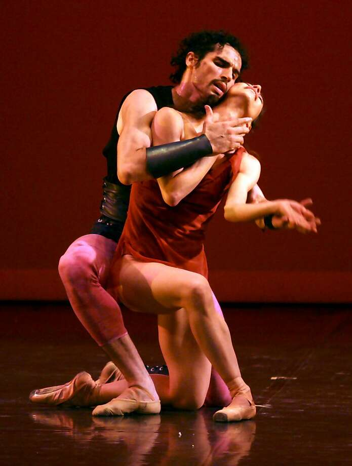"Carlos Molina dances with his wife, Erica Cornejo, a principal at the Boston Ballet, in his ""Spartacus Pas de Deux."" Photo: Boston Ballet"