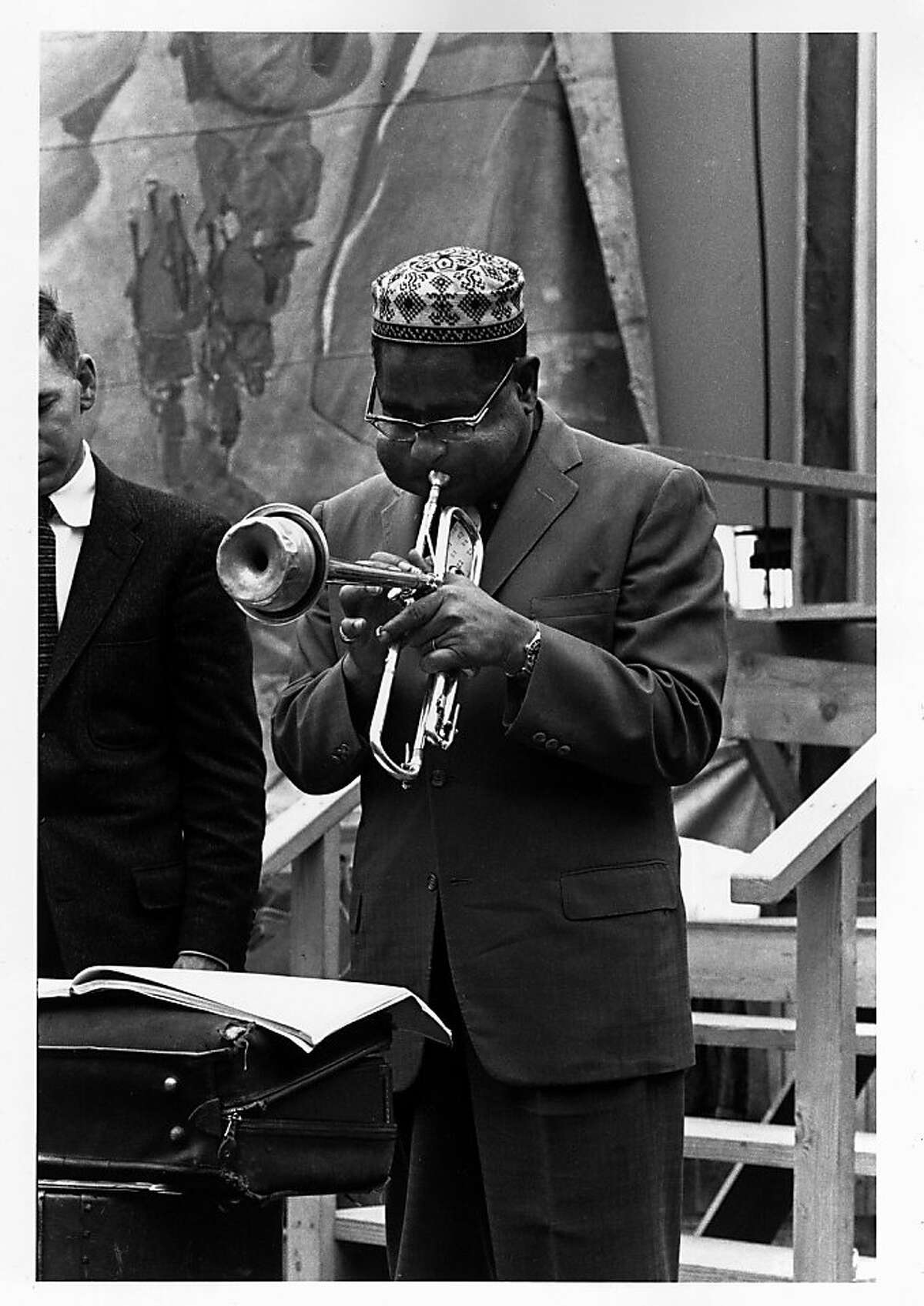 The inaugural edition of the Monterey Jazz Festival included premier jazz trumpeter Dizzy Gillespie, who would return many times over the years before his death in 1993. From the book Monterey Jazz Festival: Forty Legendary Years.