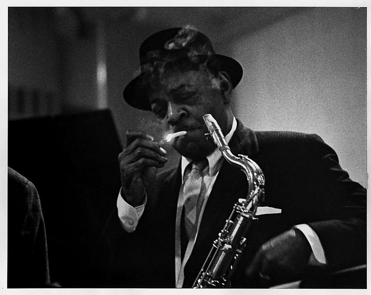 Coleman Hawkins, who came to fame as a tenor saxophonist during the big band era and influenced early bebop musicians, appears at the second-ever Monterey Jazz Festival in 1959. Photo from the book Monterey Jazz Festival: Forty Legendary Years.