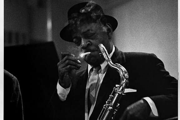 Coleman Hawkins, who came to fame as a tenor saxophonist during the big band era and influenced early bebop musicians,  performs at the second-ever Monterey Jazz Festival in 1959. From the book Monterey Jazz Festival: Forty Legendary Years.