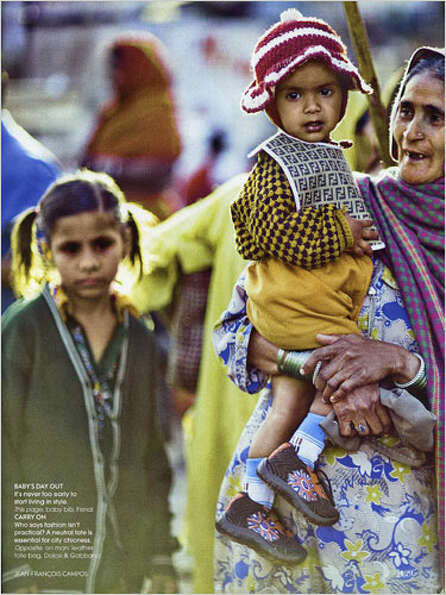 In 2008 India Vogue used poor people as props, dressing them in uber-expensive clothing. In this pho