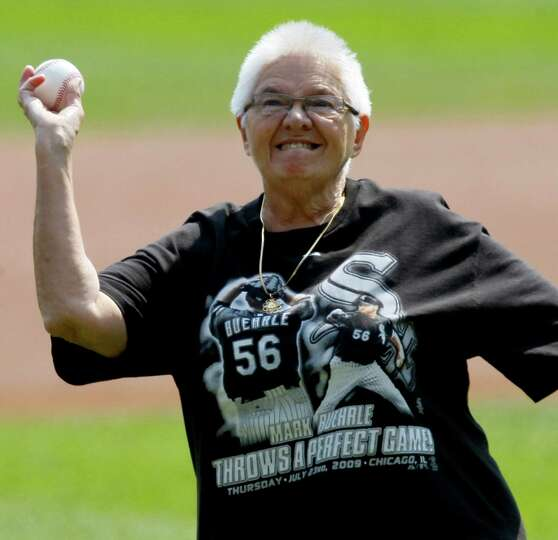 Sister Mary Elemendorf throws out a ceremonial first pitch before a baseball game between the Chicag