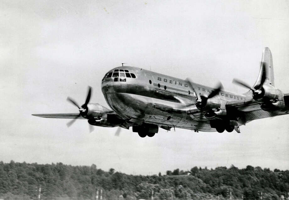 On July 8, 1947, Boeing first flew its B-29-based 377 Stratocruiser. The airliner featured gold-appointed dressing rooms, a circular staircase down to a lower-deck beverage lounge, 28 sleeping bunks and a gallery where flight attendants prepared hot meals for 50 to 100 people. Photo: The Boeing Co.