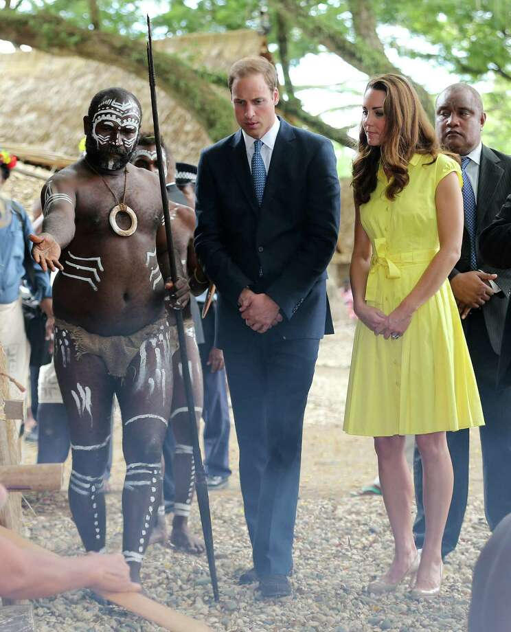 HONIARA, GUADALCANAL ISLAND, SOLOMON ISLANDS - SEPTEMBER 17:  Catherine, Duchess of Cambridge and Prince William, Duke of Cambridge visit a cultural village on their Diamond Jubilee tour of the Far East on September 17, 2012 in Honiara, Guadalcanal Island. Prince William, Duke of Cambridge and Catherine, Duchess of Cambridge are on a Diamond Jubilee tour representing the Queen taking in Singapore, Malaysia, the Solomon Islands and Tuvalu. Photo: Chris Jackson, Getty Images / 2012 Getty Images