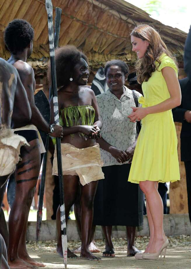 HONIARA, GUADALCANAL ISLAND, SOLOMON ISLANDS - SEPTEMBER 17:  Catherine, Duchess of Cambridge meets locals as she visits a cultural village on their Diamond Jubilee tour of the Far East on September 17, 2012 in Honiara, Guadalcanal Island. Prince William, Duke of Cambridge and Catherine, Duchess of Cambridge are on a Diamond Jubilee tour representing the Queen taking in Singapore, Malaysia, the Solomon Islands and Tuvalu. Photo: Chris Jackson, Getty Images / 2012 Getty Images
