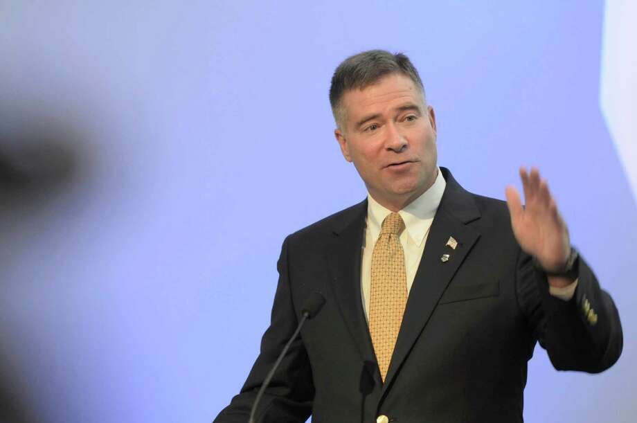 U.S. Congressman Chris Gibson addresses those gathered during an event to dedicate a new GE Wind Technology Lab at Tec-Smart on Tuesday, Oct. 18, 2011 in Malta. (Paul Buckowski / Times Union) Photo: Paul Buckowski / 00015008A