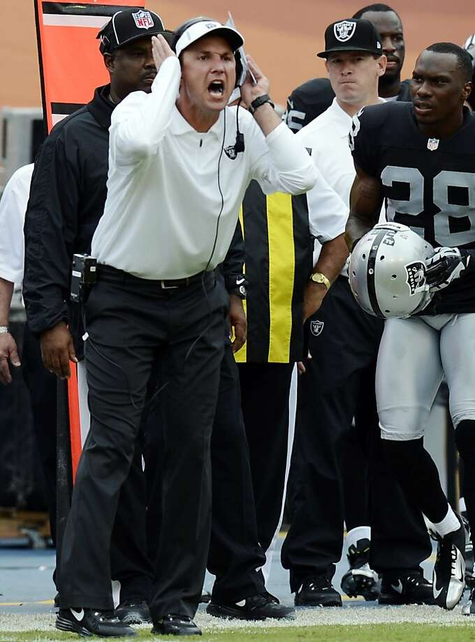 Oakland head coach Dennis Allen screams from the sidelines during the first half of an NFL football game against the Miami Dolphins, Sunday, Sept. 16, 2012, in Miami. (AP Photo/Rhona Wise) Photo: Rhona Wise, Associated Press