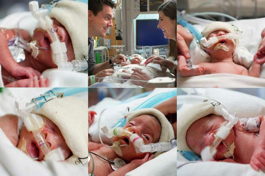 Corinne, Bruce Plauche and Sarah Plauche Miles  Reece  Tessa  and Owen Plauche. At Texas Children's Hospital Women's Pavilion in Houston.