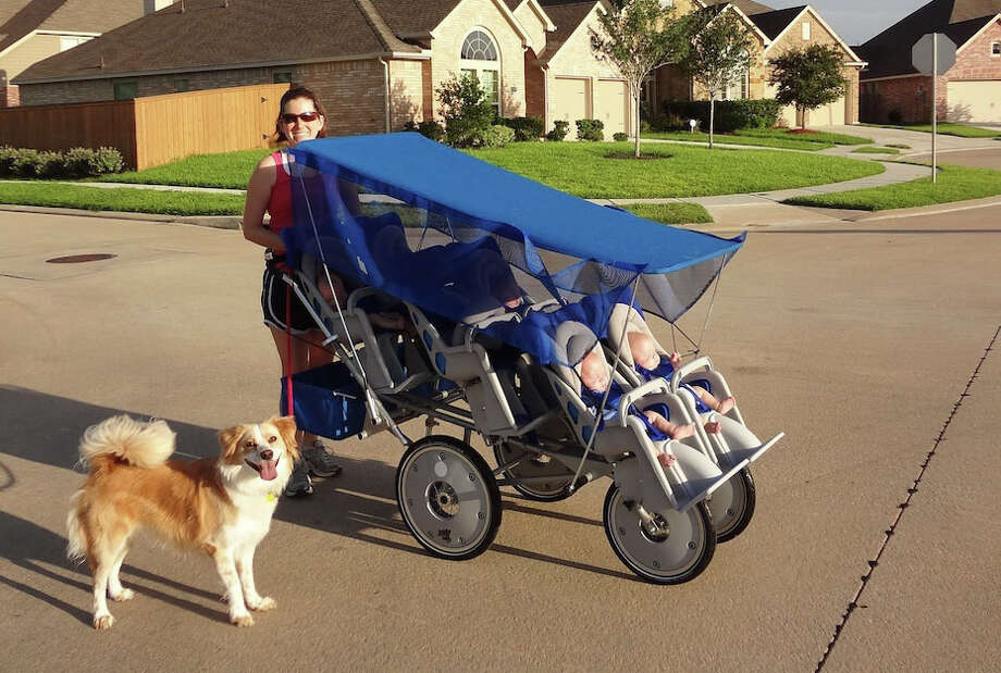 Lauren Perkins with her children in a stroller. (Photo Courtesy of the Family)