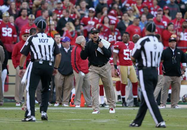 Head coach Jim Harbaugh of the 49ers argues with referees during their game against the Lions at Candlestick Park on September 16, 2012 in San Francisco, California. Photo: Ezra Shaw, Getty Images / 2012 Getty Images