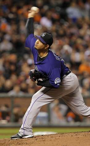 Jhoulys Chacin pitches for the Rockies. The San Francisco Giants played the Colorado Rockies at AT&T Park in San Francisco, Calif., on Monday, September 17, 2012. Photo: Carlos Avila Gonzalez - San Fran, The Chronicle