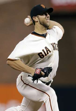 San Francisco Giants starting pitcher Madison Bumgarner throws to the Colorado Rockies during the first inning of a baseball game on Monday, Sept. 17, 2012, in San Francisco. (AP Photo/Marcio Jose Sanchez) Photo: Marcio Jose Sanchez, Associated Press