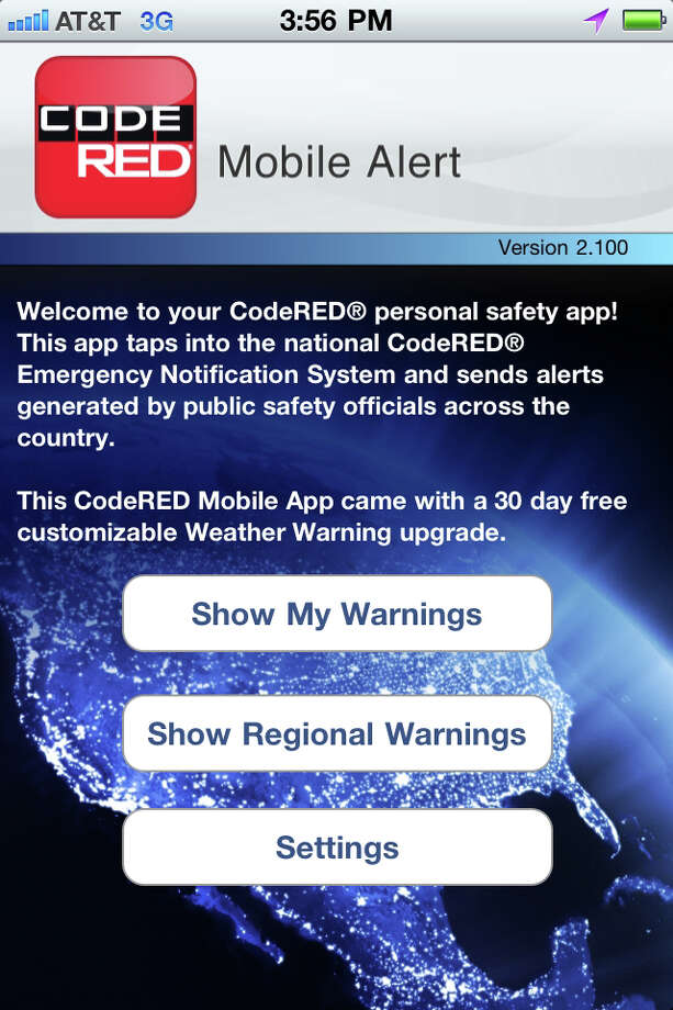 A screenshot of the CodeRED Mobile Alert app, which sends emergency notices to smartphone users. Photo: Paul Schott / Westport News