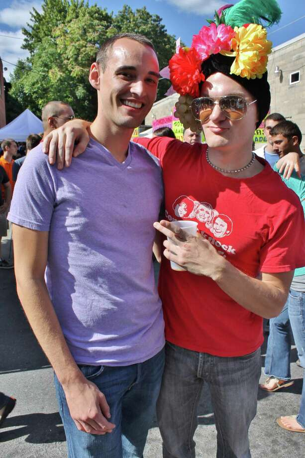 Anthony Liviano and Greg Sides of Albany attend Larkfest not without proper head wear. Photo by Alex Luciano. Photo: New Visions: Journalism & Media Studies