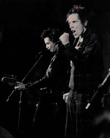 Johnny Rotten (right), Sid Vicious and their colleagues in the Sex Pistols put on a memorable show in San Antonio at Randy's Rodeo on Jan. 8, 1978. Photo: FILE PHOTO