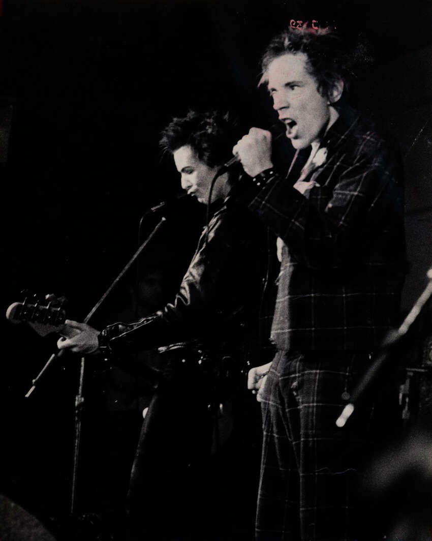Johnny Rotten (right), Sid Vicious and their colleagues in the Sex Pistols put on a memorable show in San Antonio at Randy's Rodeo on Jan. 8, 1978.
