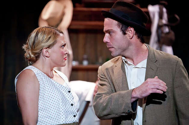 """Of  Mice and Men"" will be performed in Sherman through Oct. 6. Left to right are Ali Bernhardt as Curley's wife and James Hipp as George. Photo: Contributed Photo"